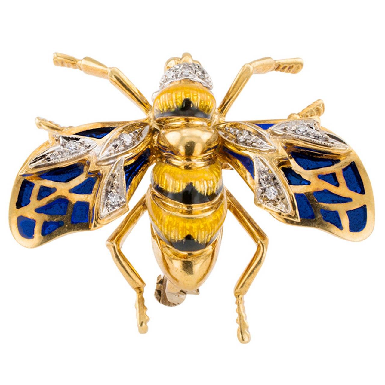 Plique A Jour Enamel Diamond Gold Bee Brooch 1