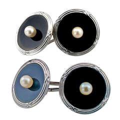 Mikimoto Art Deco Onyx & Pearl Cuff Links