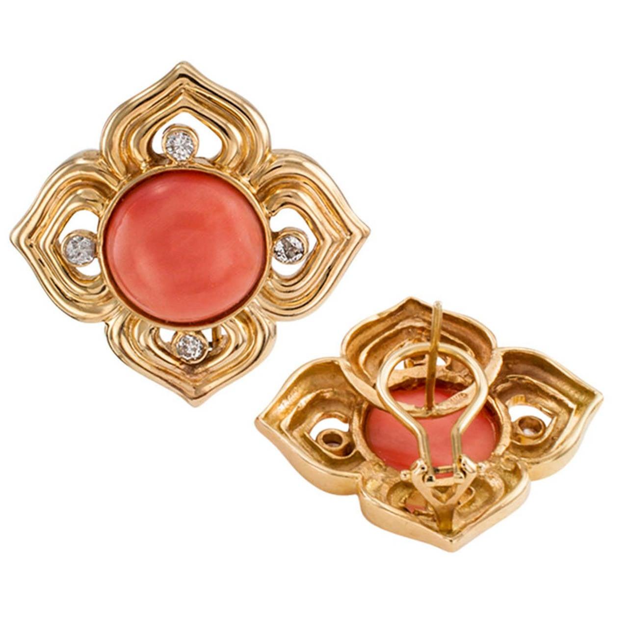 Quatrefoil Coral Diamond Gold Earrings 2