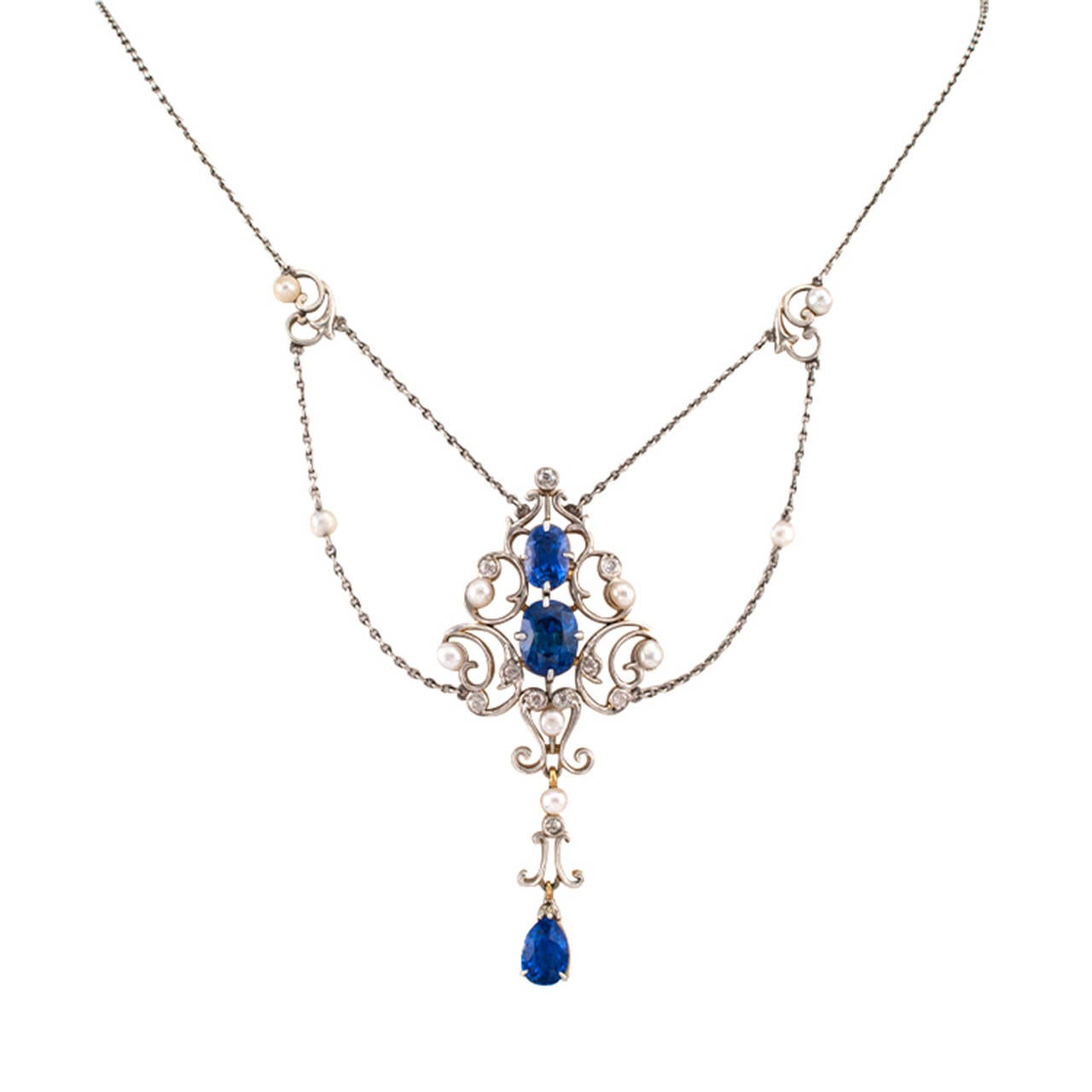Edwardian Pearl Sapphire Diamond  Necklace