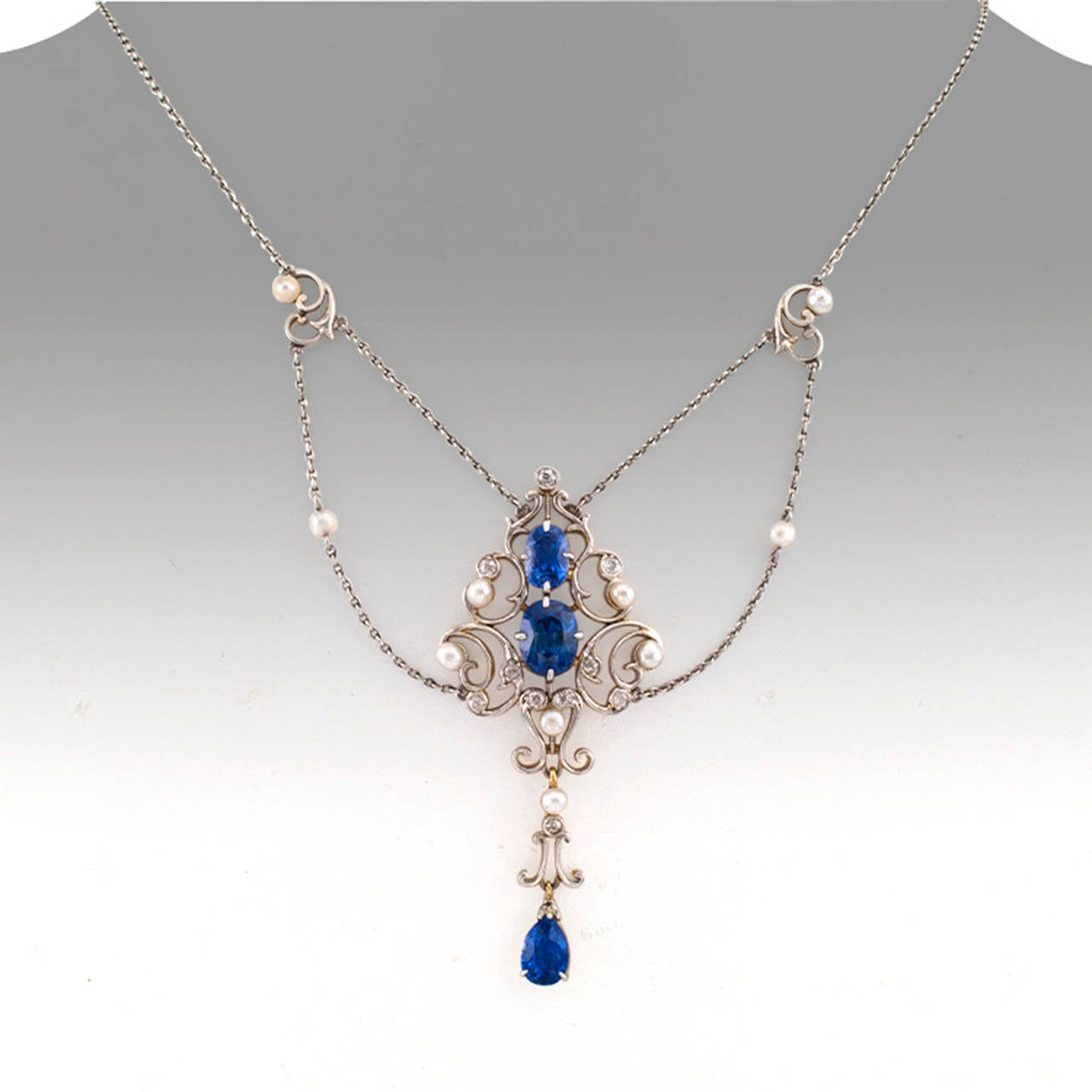 Edwardian Pearl Sapphire Diamond Gold Platinum Drop Necklace In Excellent Condition For Sale In Los Angeles, CA