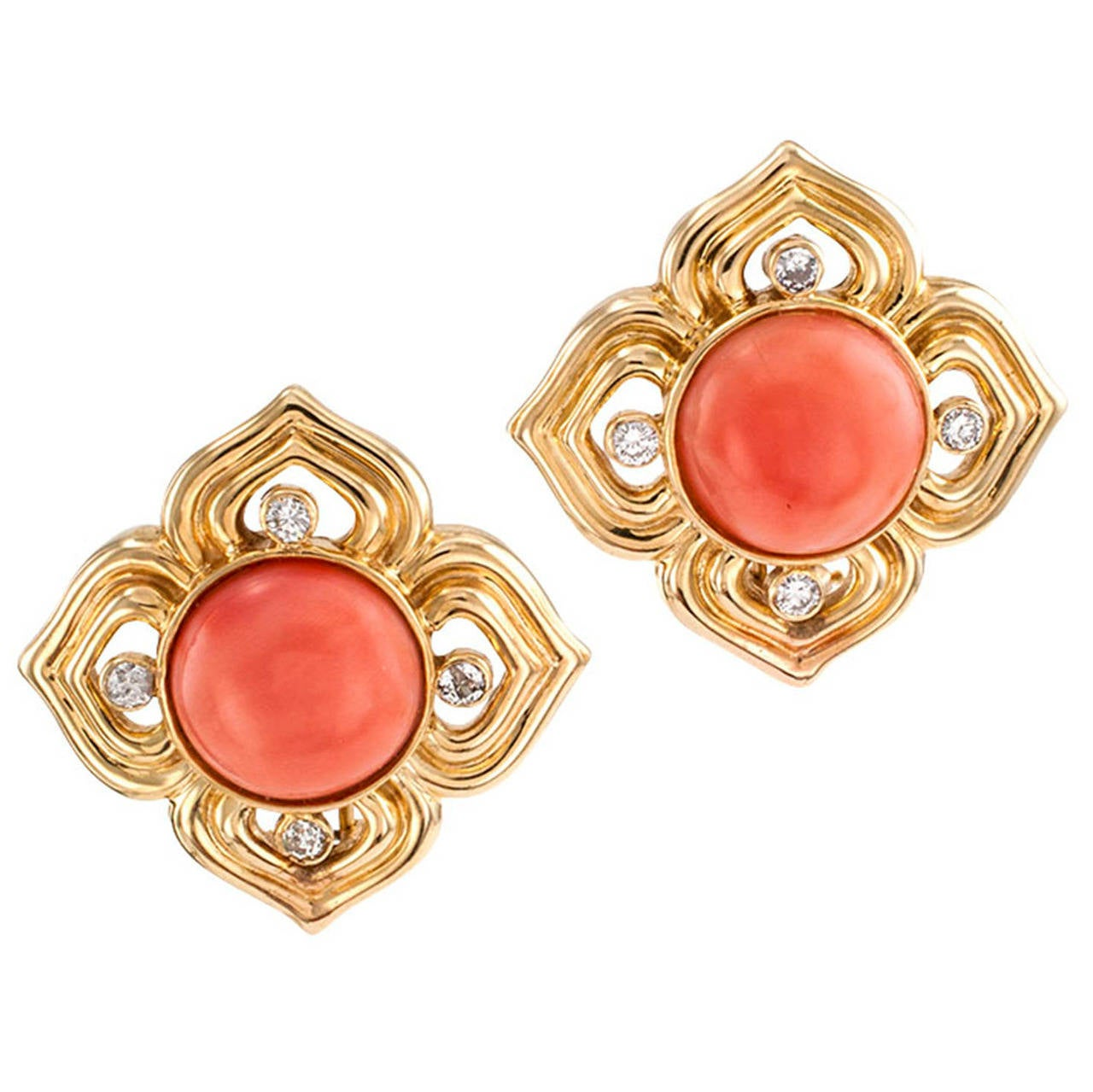 Quatrefoil Coral Diamond Gold Earrings at 1stdibs