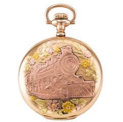 Elgin Tricolor Gold Railroad Locomotive Engine Pocket Watch