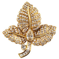 1980s Diamond Gold Intensive Leaf Brooch