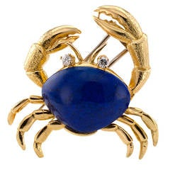 Tiffany & Co. Lapis Diamond Gold Crab Brooch