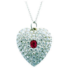 Edwardian Diamond Ruby Gold Platinum Heart Pendant