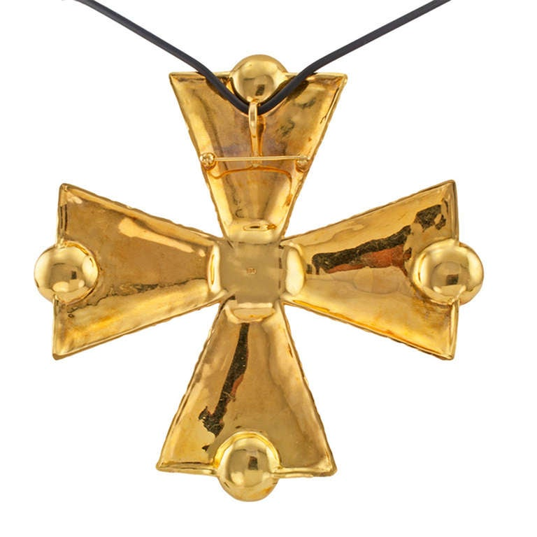 Great Large Scale Gold Maltese Cross Pendant With Pearls