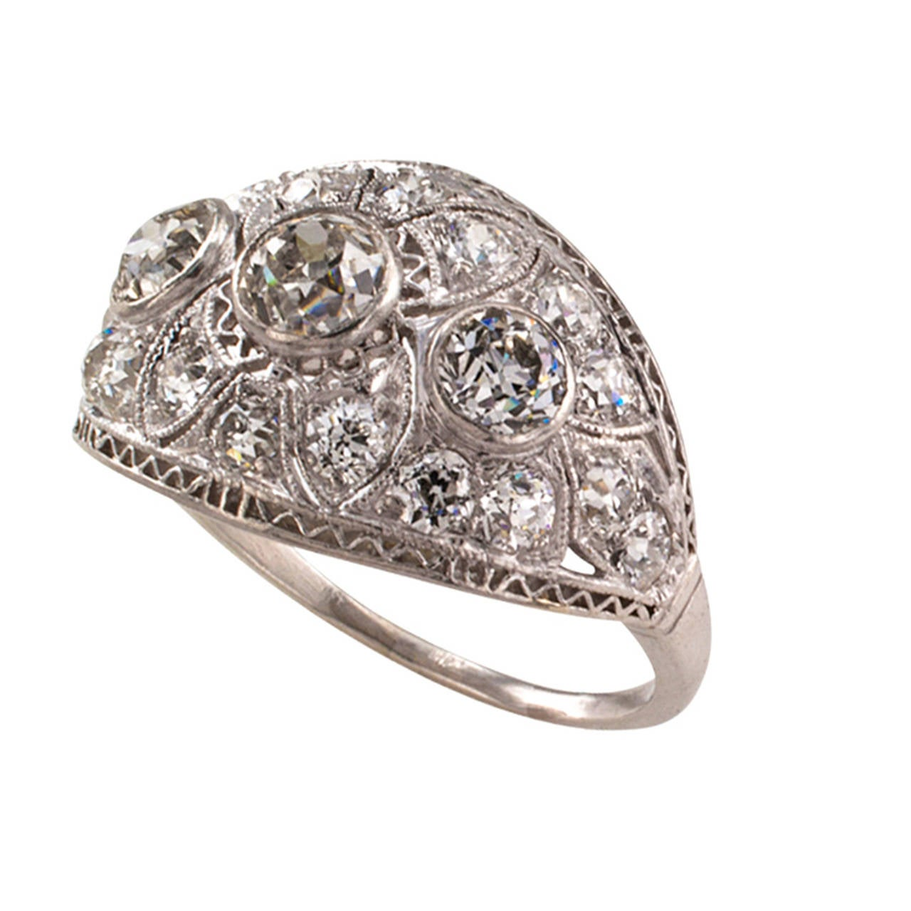 Edwardian Engagement Rings For Sale: Edwardian Diamond Platinum Engagement Ring For Sale At 1stdibs