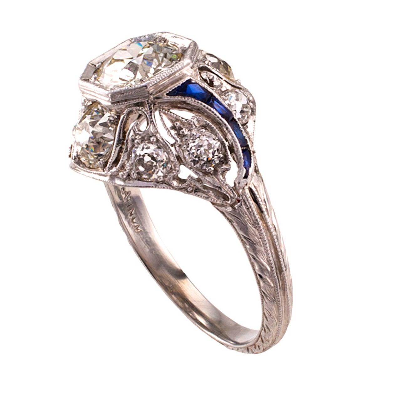1920s deco 1 00 carat platinum engagement ring at 1stdibs
