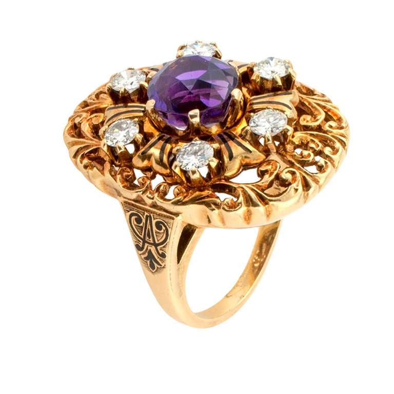 unique amethyst and dinner ring at 1stdibs