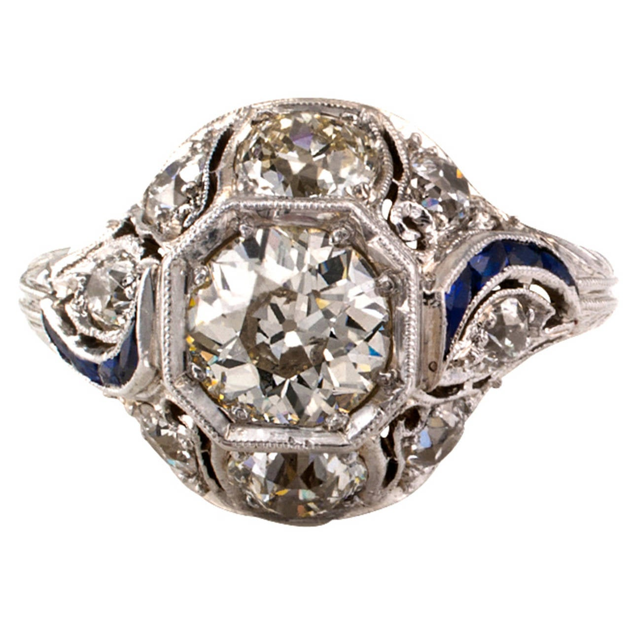 1920s art deco carat diamond platinum engagement ring for Art craft engagement rings
