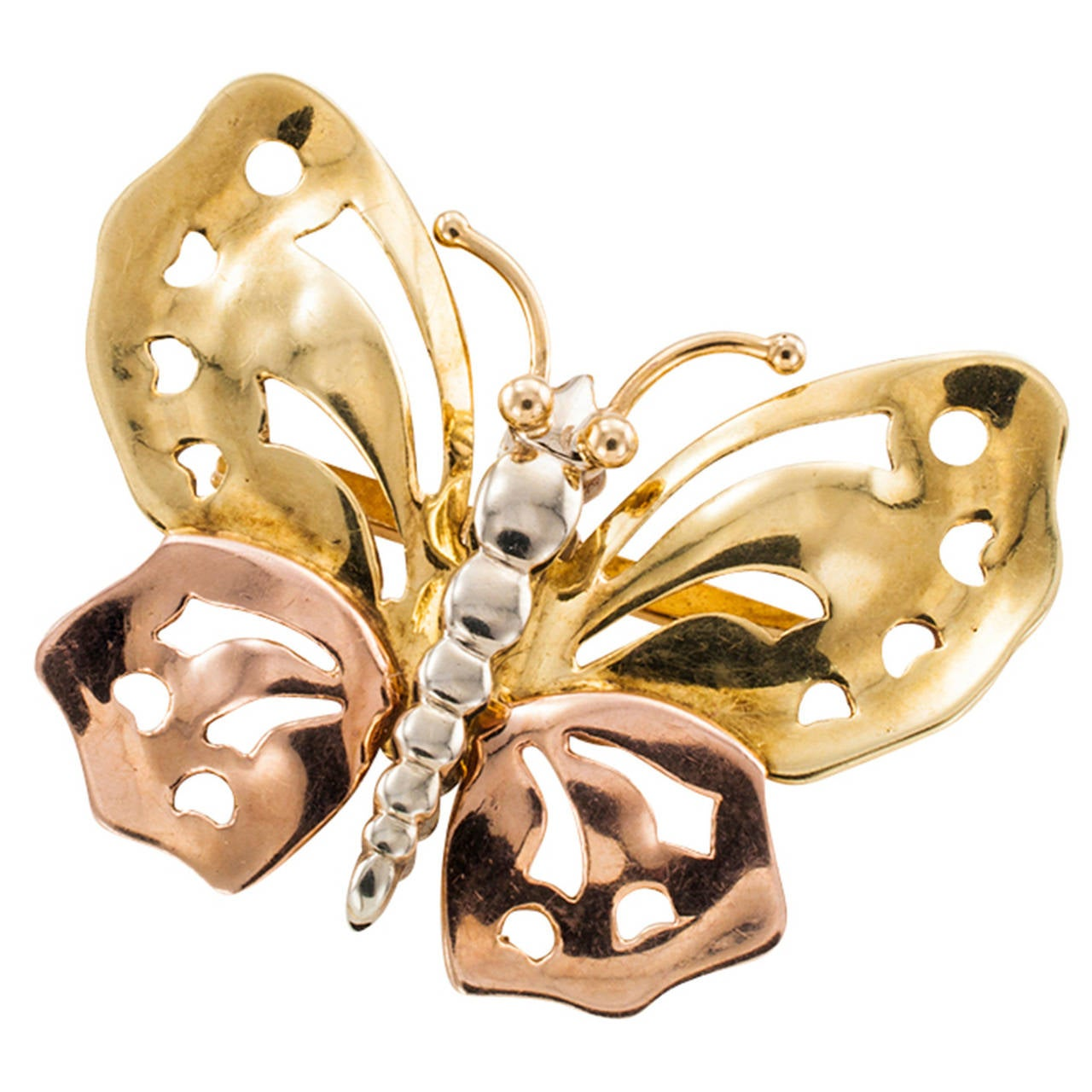 1940s Retro Three Color Gold Butterfly Brooch For Sale