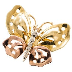 1940s Retro Three Color Gold Butterfly Brooch