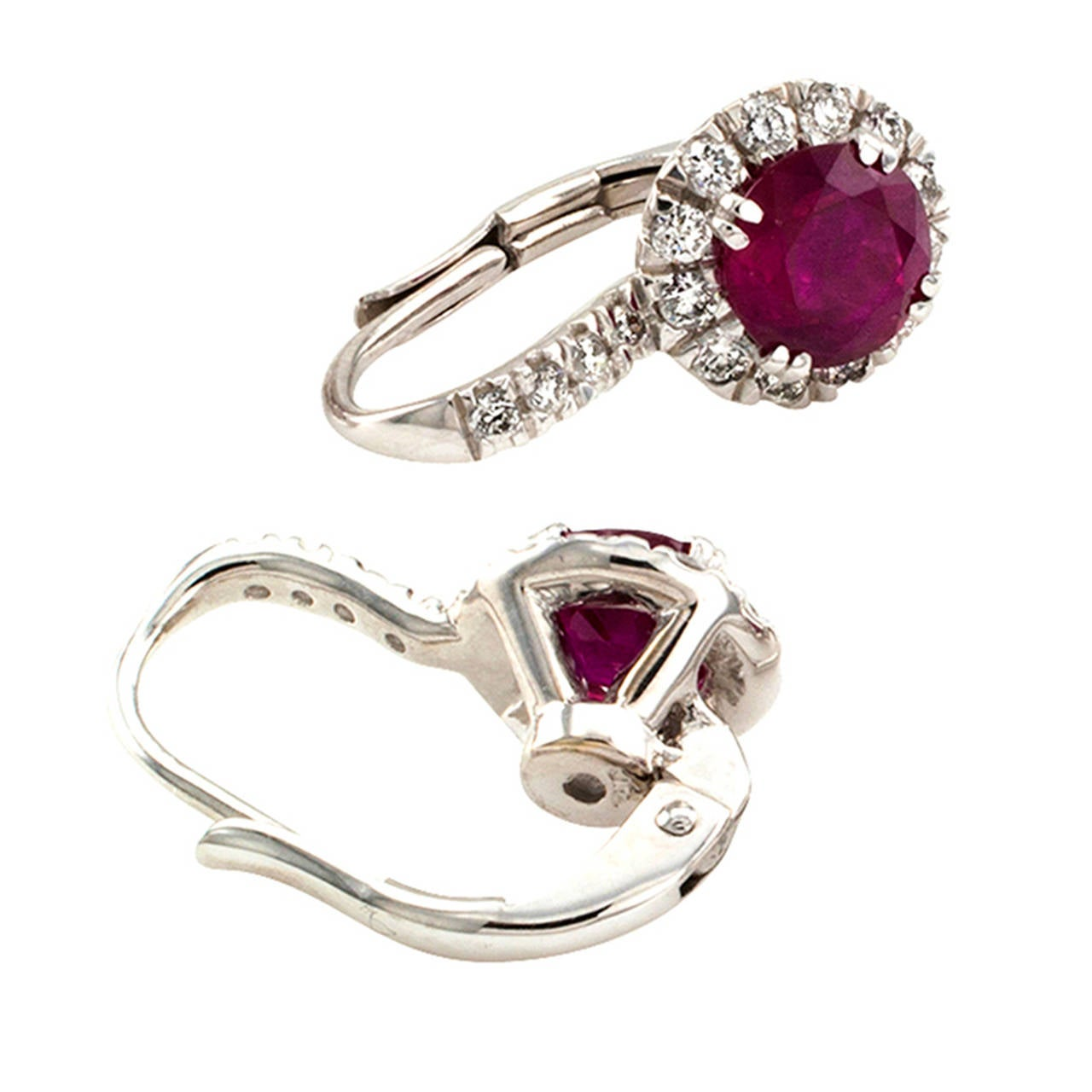 Contemporary Ruby Diamond Cluster Earrings At 1stdibs