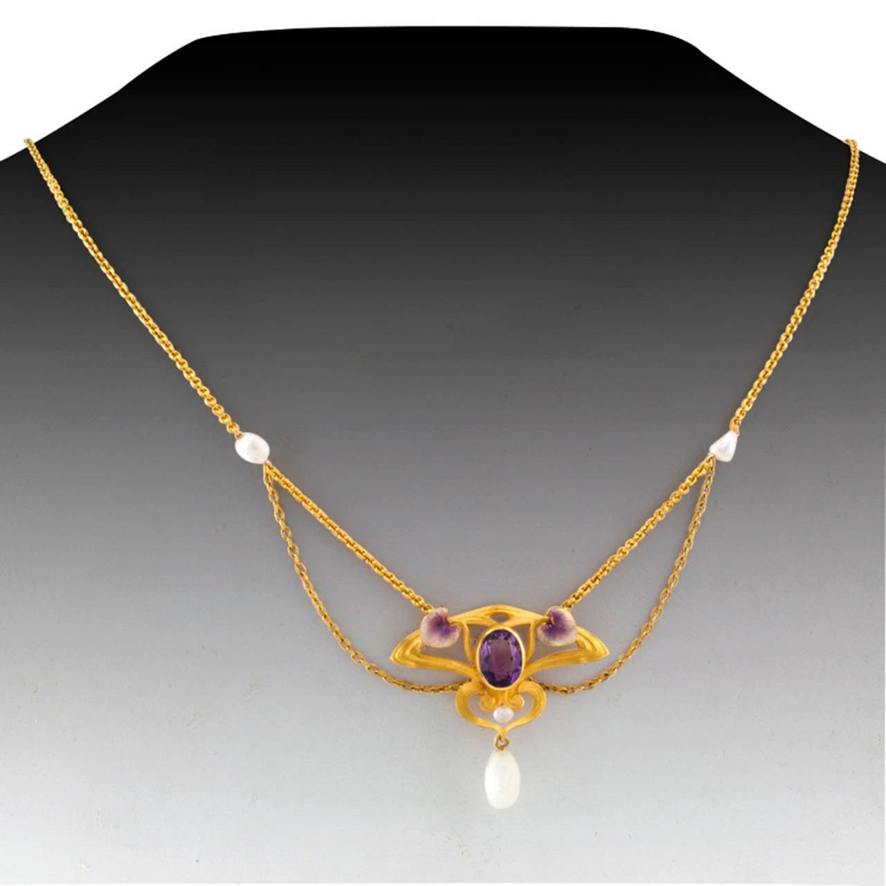 Krementz Art Nouveau Pearl Enamel Amethyst Necklace In Excellent Condition For Sale In Los Angeles, CA