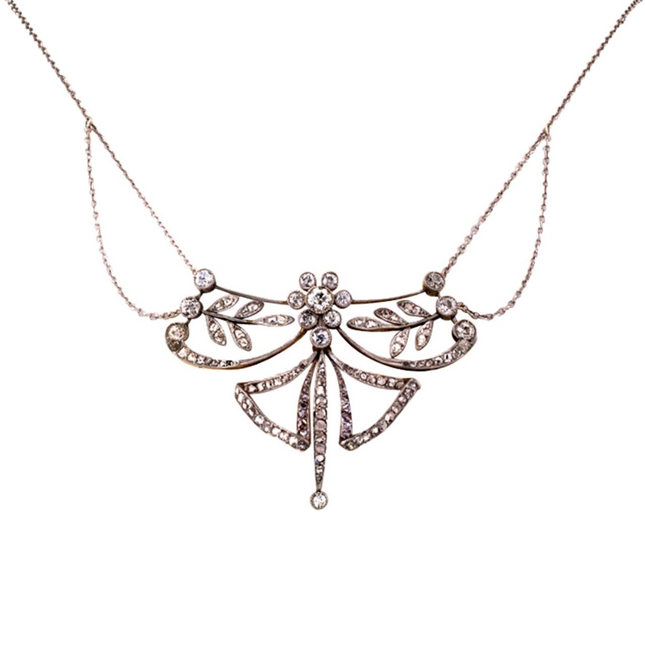 Edwardian Diamond Platinum Gold Necklace 2