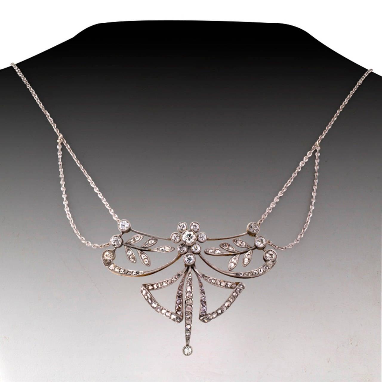Edwardian Diamond Platinum Gold Necklace 3