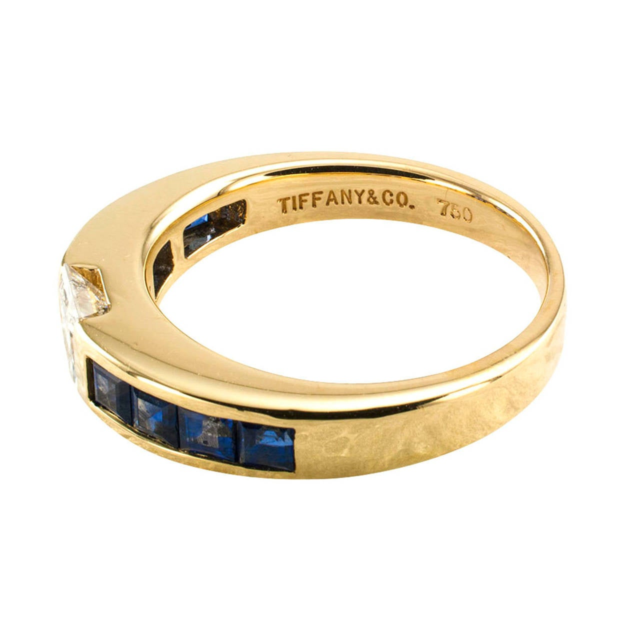Tiffany Princess Cut Diamond And Sapphire Ring Band At 1stdibs