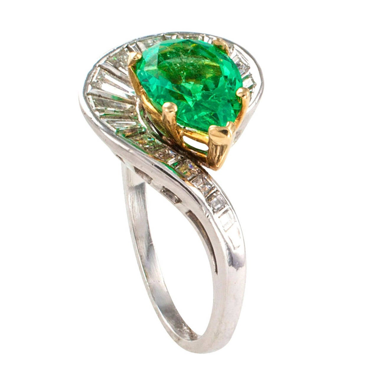 Pearshaped Colombian Emerald And Diamond Ring Circa 1950 2
