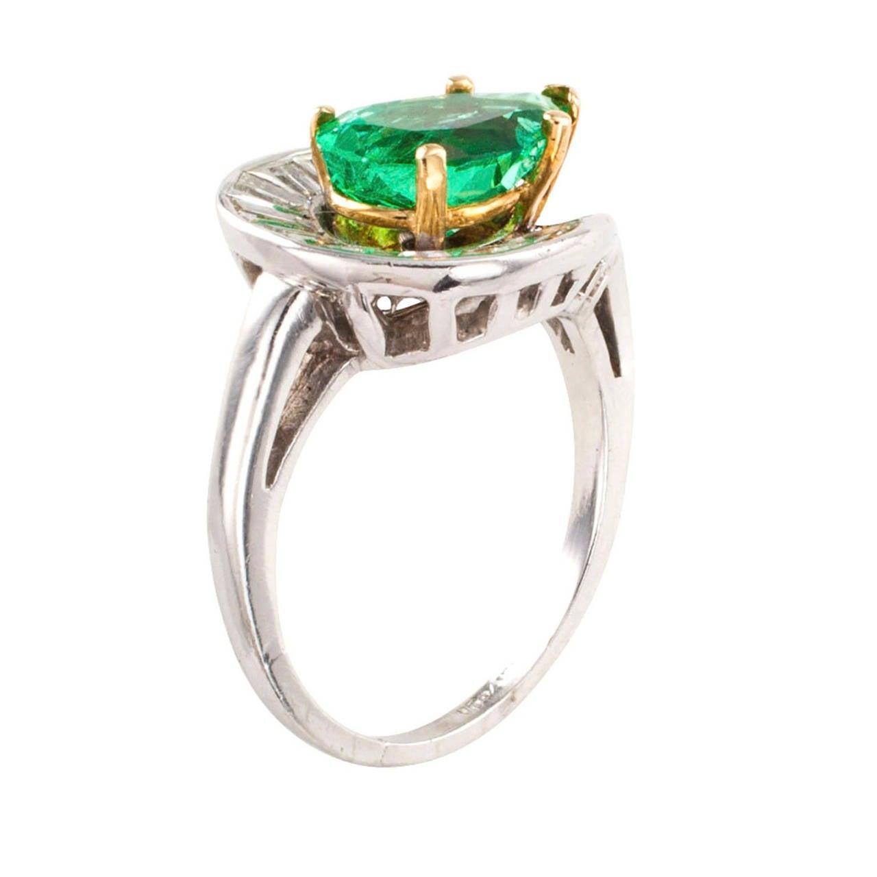 pear shaped emerald and ring circa 1950