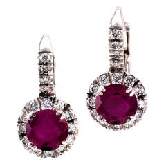 Contemporary Ruby Diamond Cluster Earrings