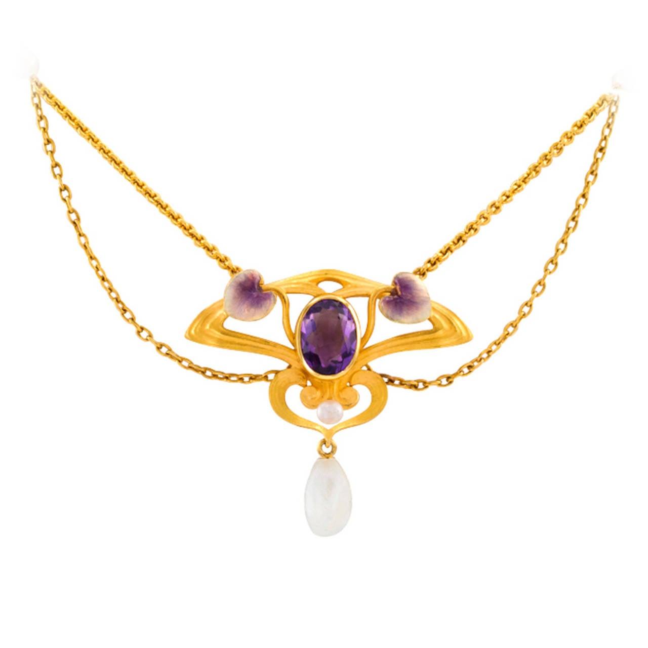 krementz nouveau pearl enamel amethyst necklace for