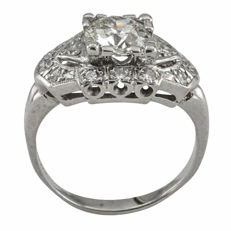1950s Diamond Platinum Engagement Ring For Sale at 1stdibs