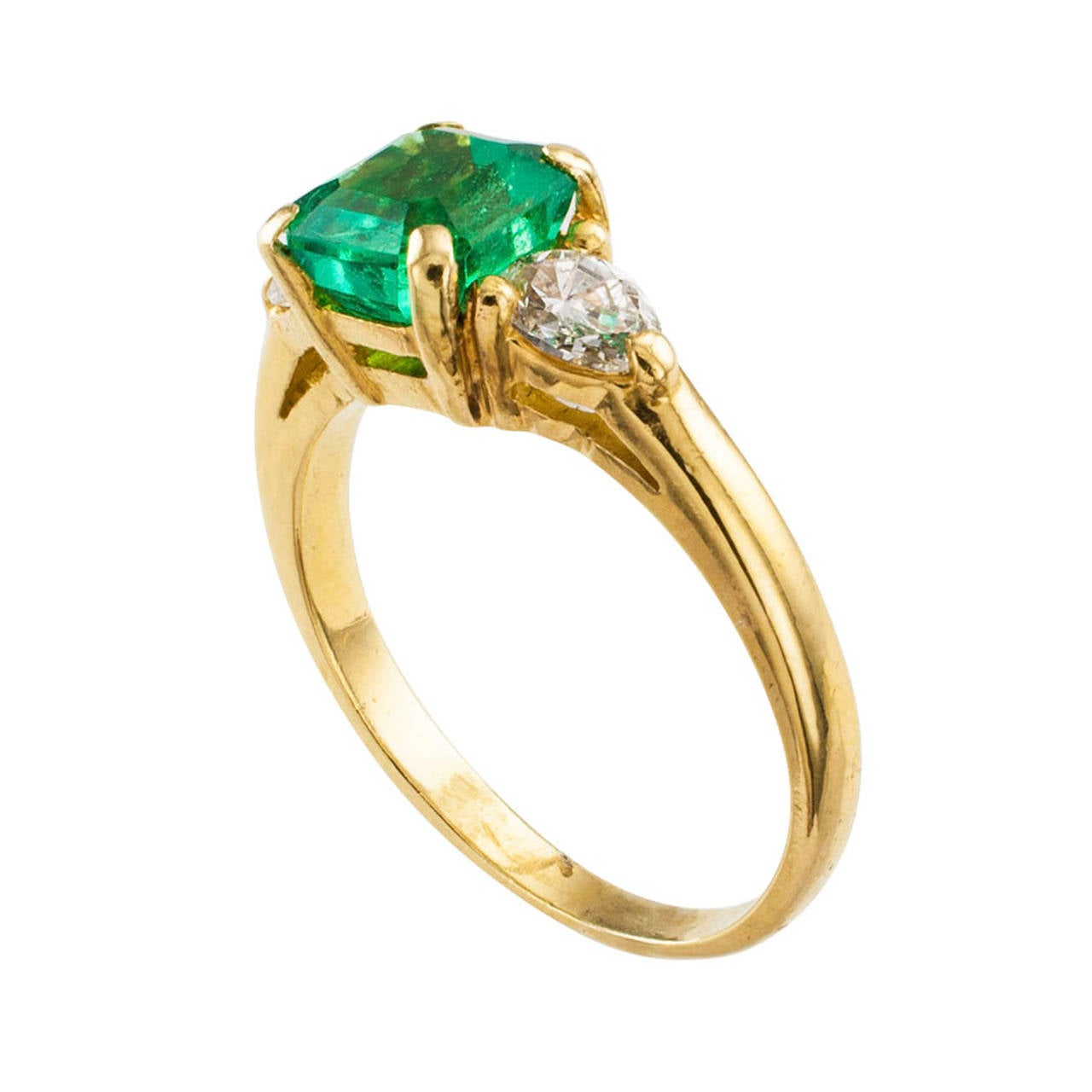 emerald cut emerald and pear shaped ring at 1stdibs