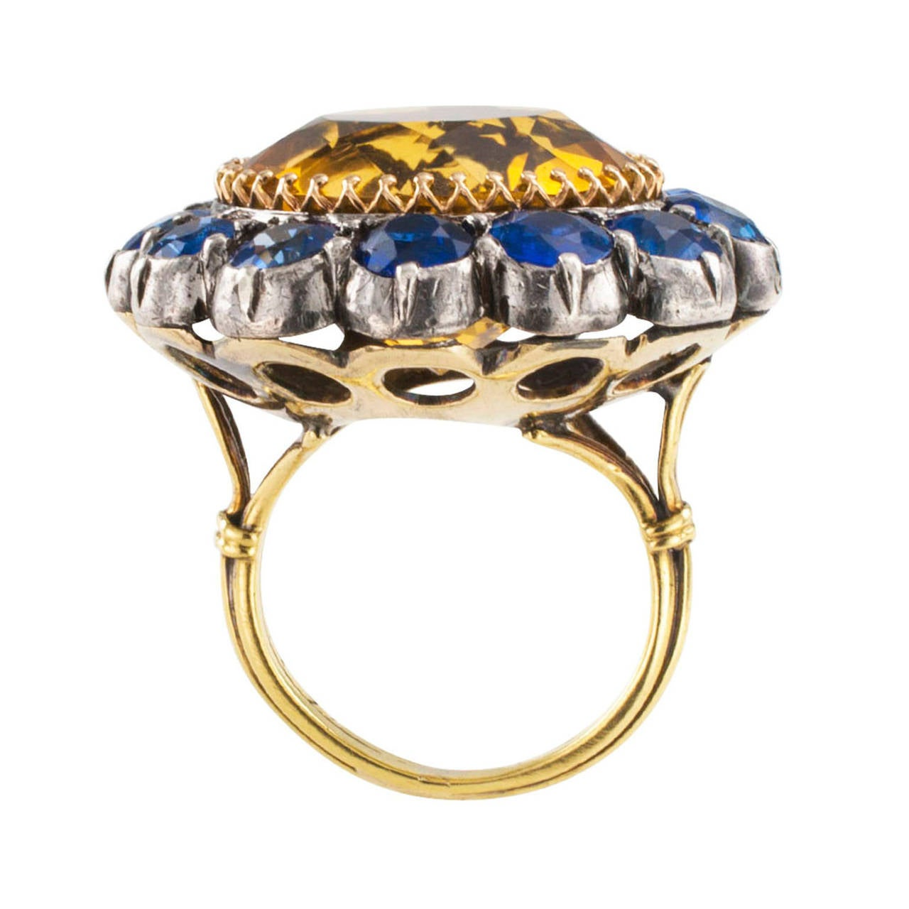 antique citrine sapphire silver gold ring at 1stdibs