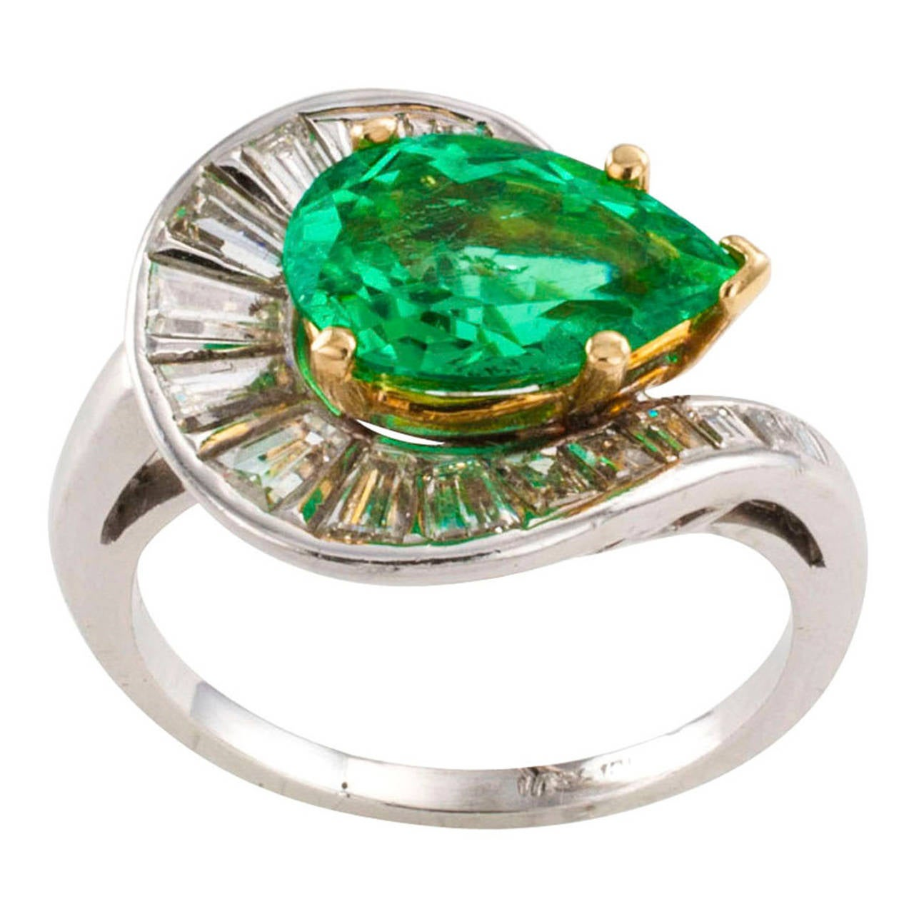 Pearshaped Colombian Emerald And Diamond Ring Circa 1950 1