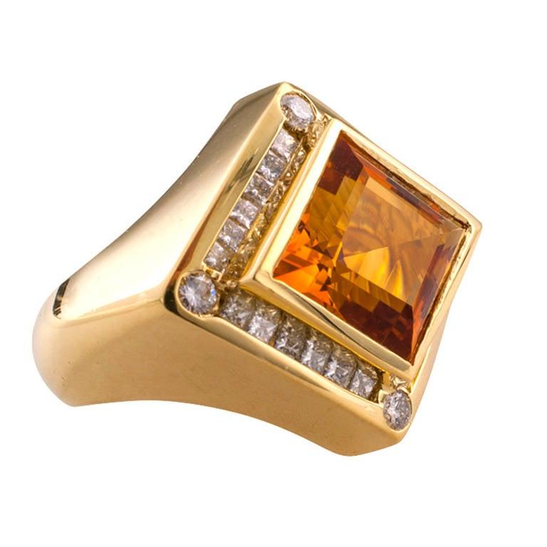 Modernistic Citrine Diamond Gold Ring 3