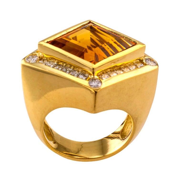 Modernistic Citrine Diamond Gold Ring 4