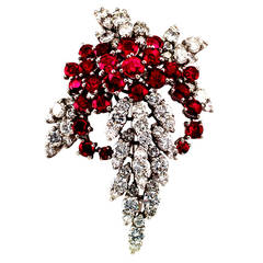 1950s Ruby Diamond Platinum Cascade Brooch-Pendant