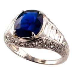 Art Deco Burma Sapphire Diamond Platinum Ring
