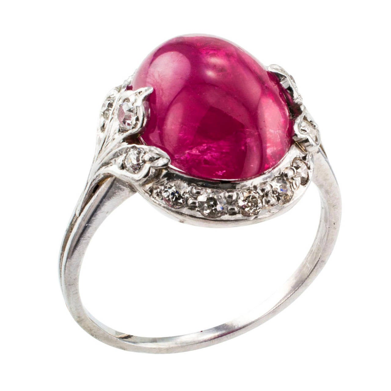 Women's Art Deco Cabochon Ruby Diamond Platinum Ring For Sale