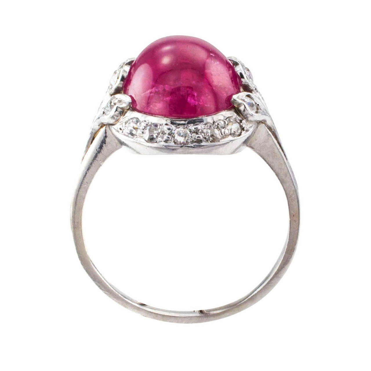 Cabochon Ruby and Diamond Art Deco Lady's Ring