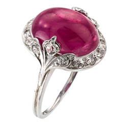 Art Deco Cabochon Ruby Diamond Platinum Ring