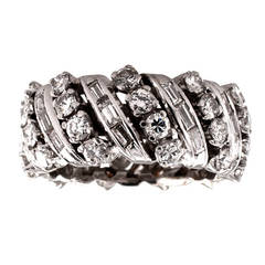 Round and Baguette Diamond Platinum Band Ring