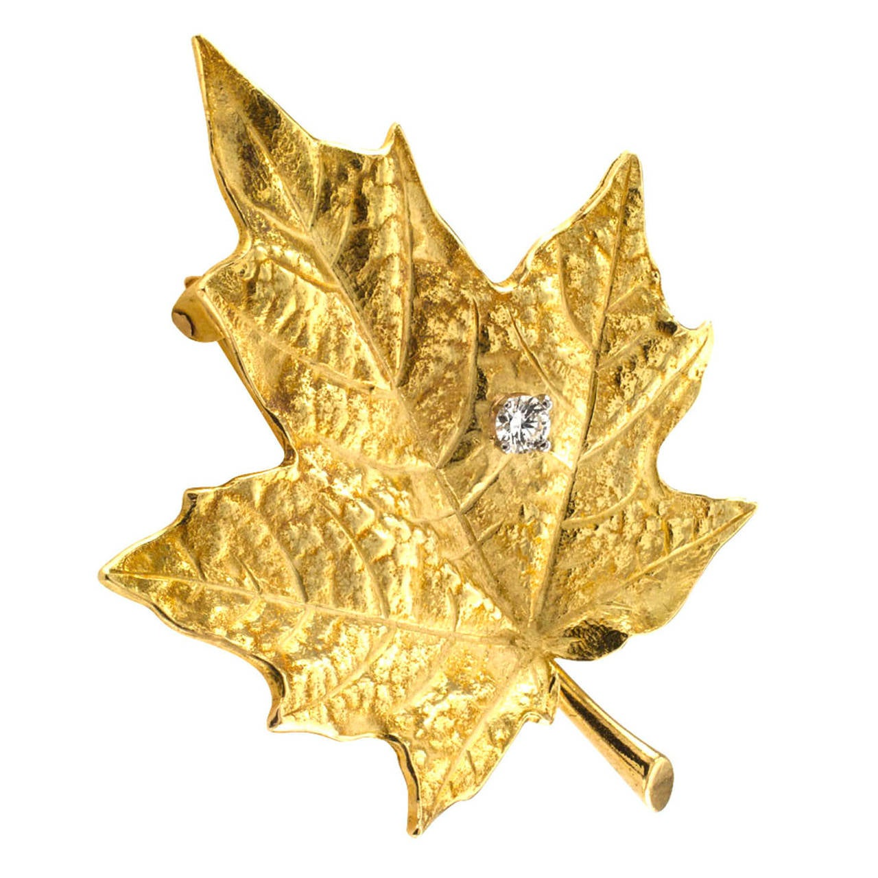 Tiffany And Co Diamond Gold Maple Leaf Brooch At 1stdibs
