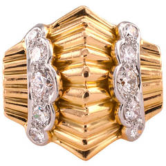 Retro Diamond Gold Platinum Ring