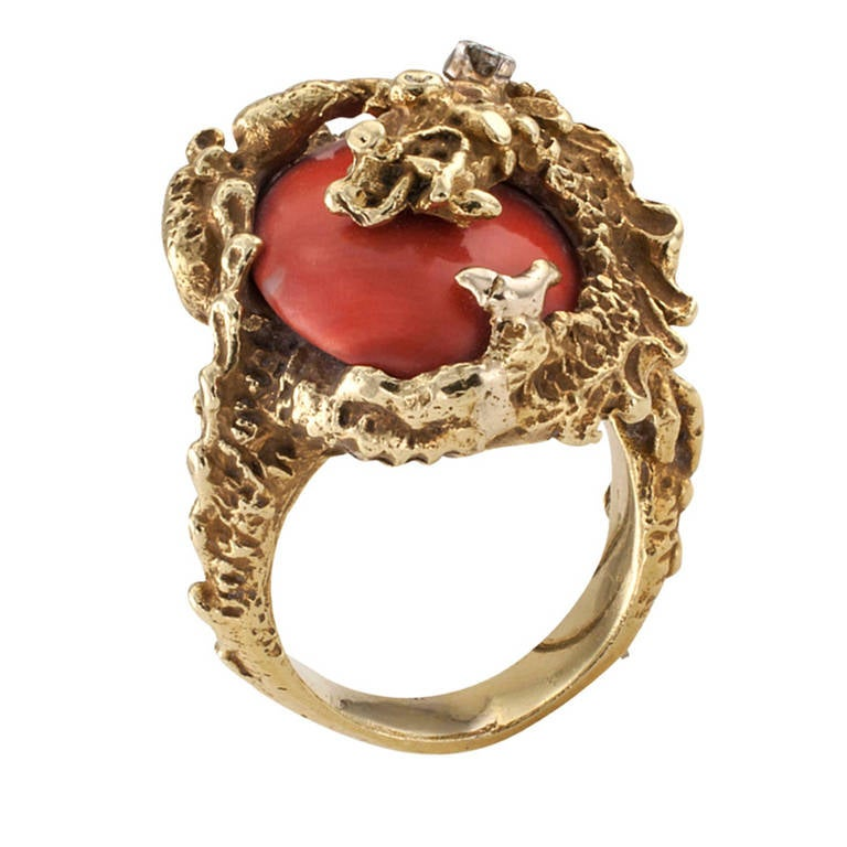 A Great Coral Gold Dragon Ring  4