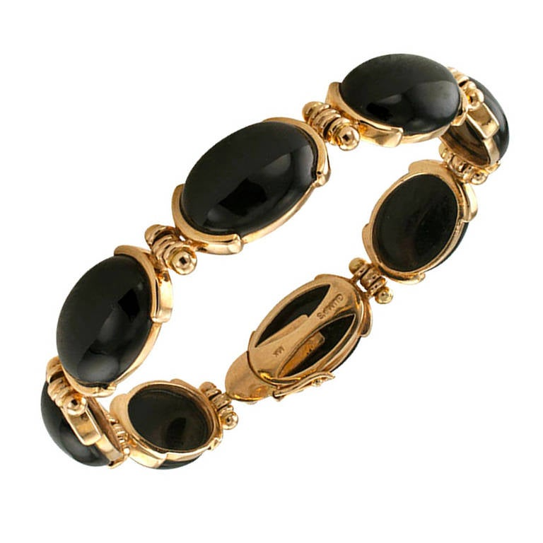 Gumps Black Jade And Gold Bracelet At 1stdibs
