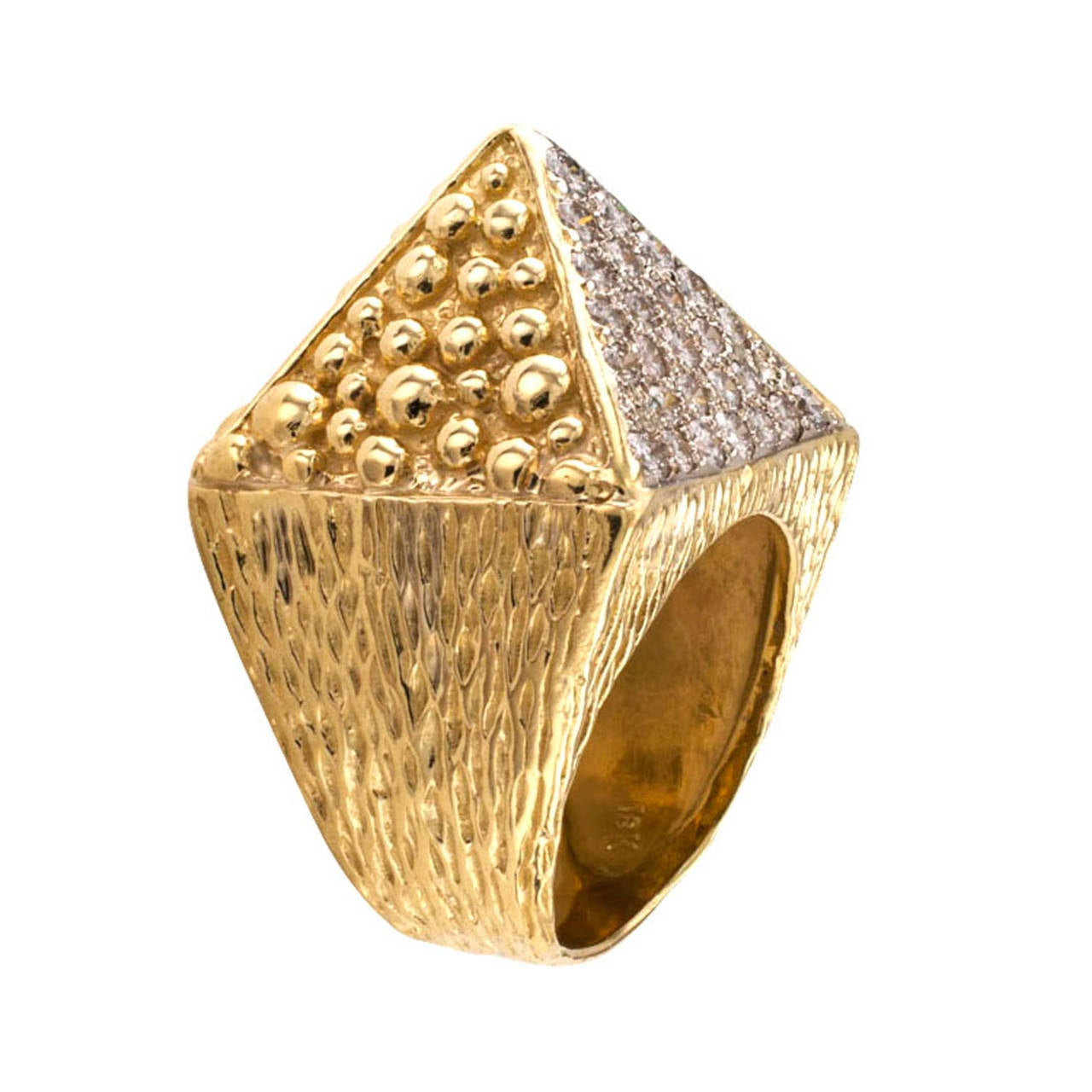 Diamond Gold Pyramid Ring At 1stdibs