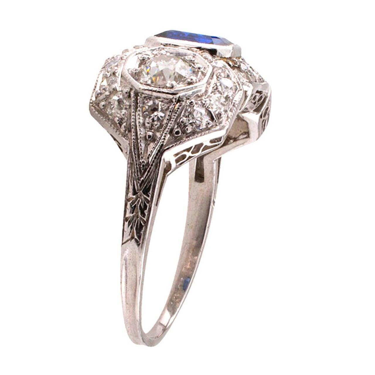 deco platinum ring deco sapphire platinum ring at 1stdibs