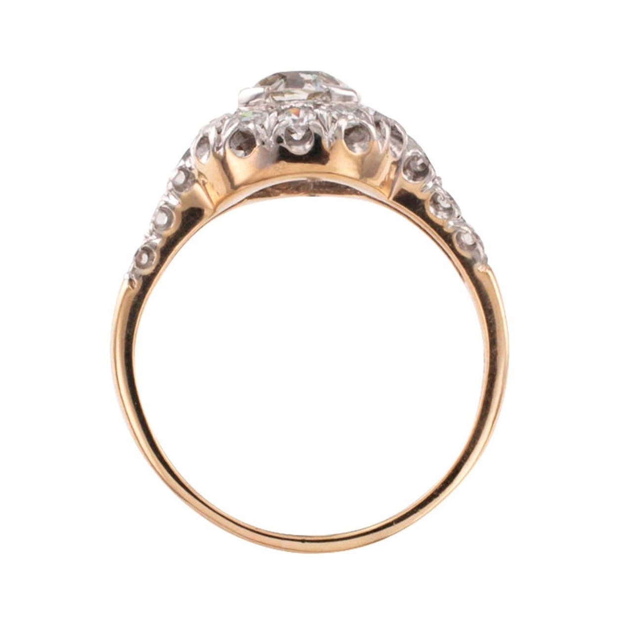 Diamond Two Color Gold Engagement Ring 4