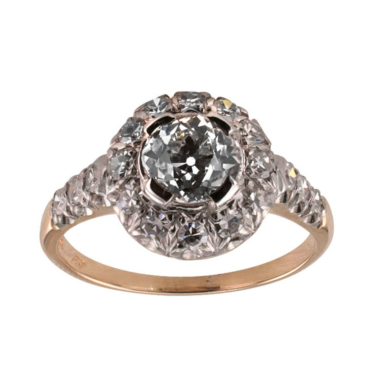 Diamond Two Color Gold Engagement Ring 3