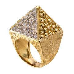 Diamond Gold Pyramid Ring