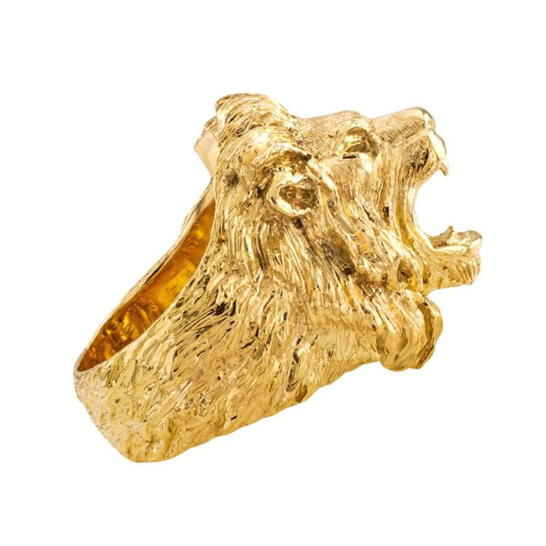wholesale head detail mens rings stainless lion vintage fashion steel gold product