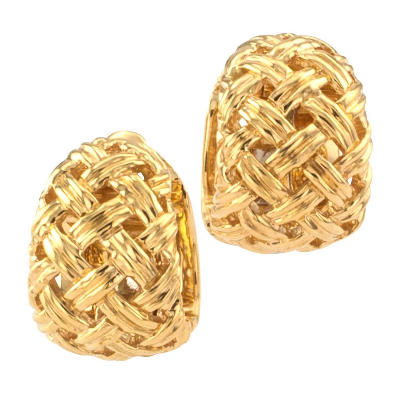 Basket Weaving Jewelry : Jean viteau dainty basket weave gold hoop earrings at stdibs