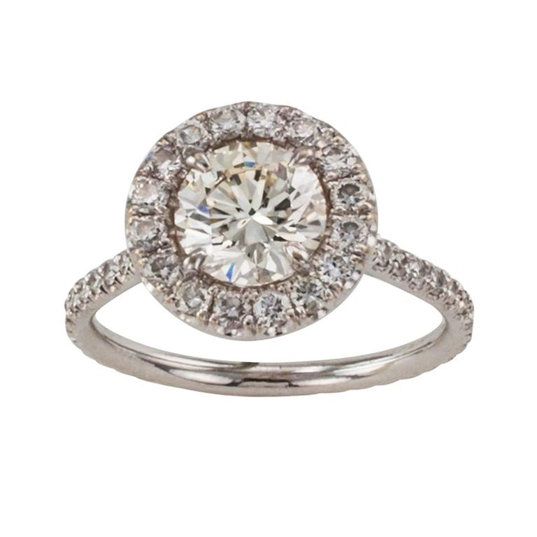 Contemporary Diamond Halo Engagement Ring For Sale